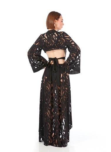 Women&Women Transparan Kimono Plaj Elbisesi Siyah